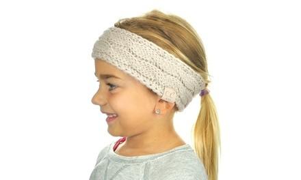 C.C Children's Kids' Warm Cable Knit Fuzzy Lined Ear Warmer Headband