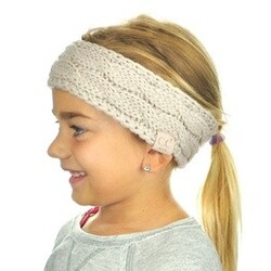 C.C Children's Kids' Warm Cable Knit Fuzzy Lined Ear Warmer Headband